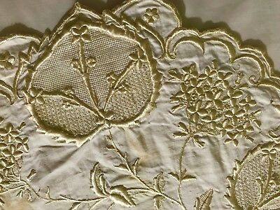 """Exceptional Antique Large Doily Centerpiece Hand embroidery 31 1/2"""" x 22"""" AS IS"""