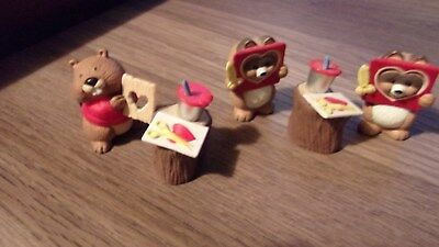 Vintage Hallmark Merry Miniatures Valentine's Day 2 RACCOON & BEAVER Figurines