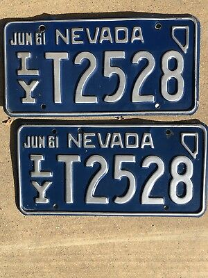 1961 Nevada Original License Plates Pair