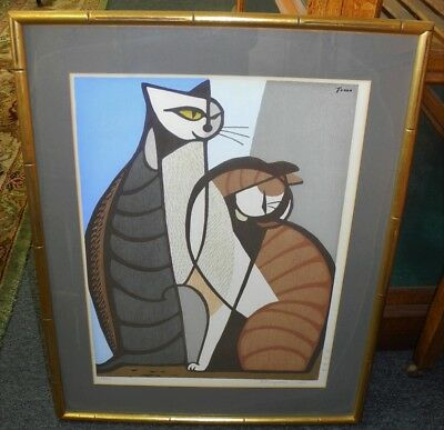 Signed 1964 TOMMO INAGAKI Framed Ink Block Cat Print Limited Edition 26/210