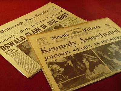 Vintage Kennedy Assassination Historic Newspaper Lot Reissues Lee Harvey Oswald
