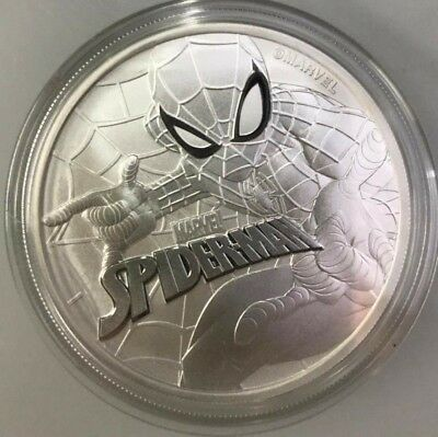 2017 ~ 1~Oz .999 Silver ~ Spiderman ~ Marvel Comic Series ~ Tuvalu ~ Gem ~ $9.99