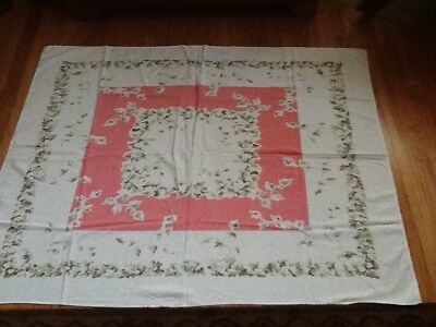 Vtg Tablecloth - Salmon/Coral Center -Ivy Leaf Outer Border on White Background