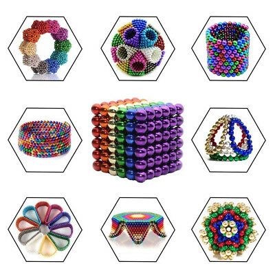 216pcs 5mm Magnet Magic Balls Bead Neodymium Magnetic DIY Sphere Cube 3D Puzzle
