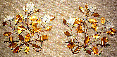 Tole Italian Gilt-Gold Flower-Design Two-Candle Wall Sconces/Holders - Pair