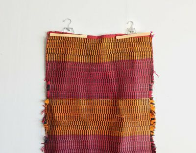 Antique 1920 Southwestern Saddle Blanket Orange and Red Rambouillet Wool Textile