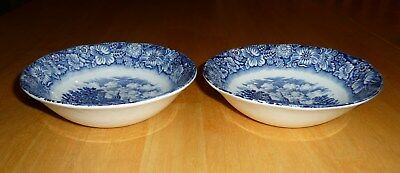 2 Vintage LIBERTY BLUE Staffordshire Ironstone Cereal Bowls - MOUNT VERNON