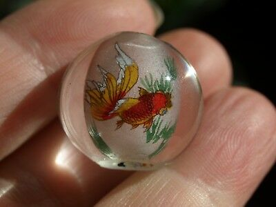 One Large Vintage Chinese Reverse Painted Glass Bead Gold Fish 20mm Round