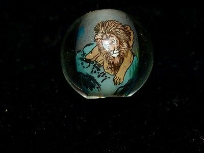 One Large Vintage Chinese Reverse Painted Glass Bead Lion 20mm Round