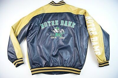 VINTAGE Notre Dame Fighting Irish Steve & Barry's Faux Leather Jacket Sz Medium
