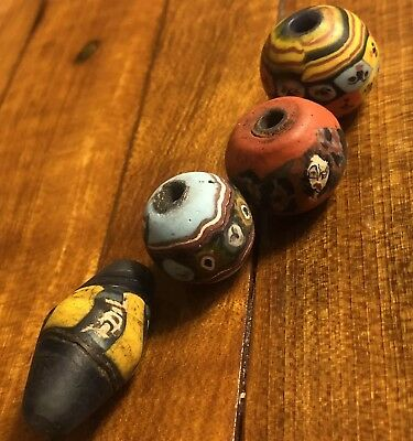 4 Ancient Phoenician Glass Bead Artifacts Face Art Middle East Antique Pendant
