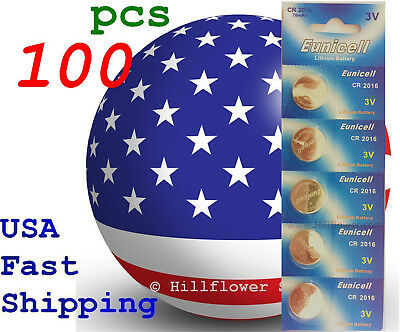 100 pieces CR2016 2016 DL2016 LM2016 Card 3V Lithium Battery USA Seller