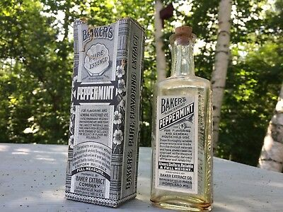 Antique Vintage Bakers Pure Peppermint Extract Bottle With Box Country Store