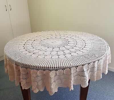 Vintage Round Crochet Tablecloth Approx 185Cm Diameter     Beige Colour