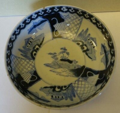 f-17 ANTIQUE JAPANESE MEIJI PORCELAIN HAND PAINTED BLUE AND WHITE DISH BOWL