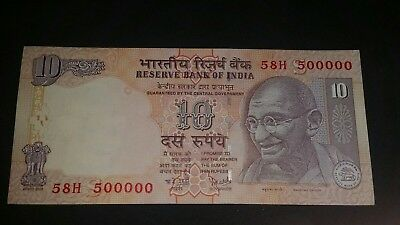 India 10 Rupees 2008.. Fancy Serial 58H 500000 Crisp Uncirculated..