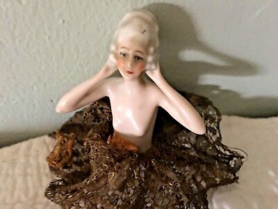 Vintage Painted Porcelain Half Doll with Lace for Pincushion, Whisk Broom, Doll