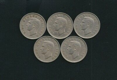 Lot of Five 1951 New Zealand Half Crown Coins Nice Condition