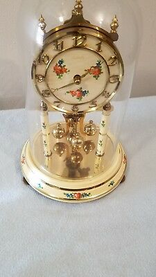 Kundo Floral Painted Anniversary Clock Kieninger Obergfell with Key as is