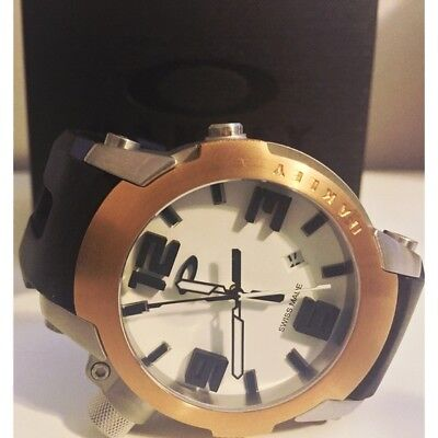 Without Box Mens Oakley Killswitch White Dial Rose Gold Bezel Rubber Strap Watch