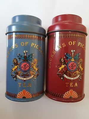 Vintage Jacksons of Piccadilly Small Tea Tins Canisters Collectable Set of 2