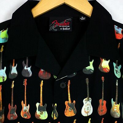 a9a2bc41f Fender By Davinci Short Sleeve Bowling Camp Shirt Black Guitar Print Mens M