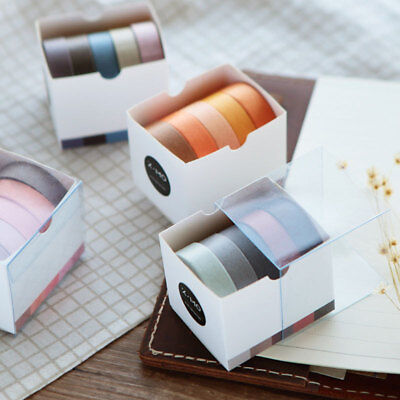 Hot 5pcs/lot 10mm*5m Solid Color Washi Tapes Scrapbooking Dairy Adhesive Tape