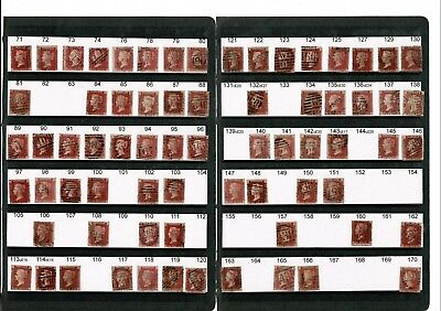 V061 GB 18.. 1d penny red plates partial collection + more 1d stars + imperfs