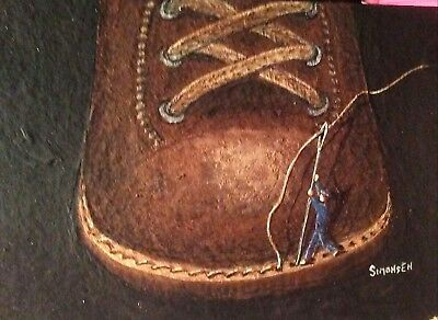 "ORIGINAL ACRYLIC  PAINTING ACEO  ""SHOE REPAIR"" signed by artist"