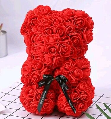 Red Rose Art Craft 25cm Teddy Bear Rose Bear Romantic Red Valentine's Day Gifts.