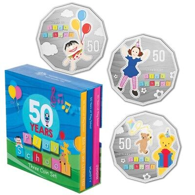 50 Years of Play School 2016 - Three 50 Cent Coin Box Set UNC Australia