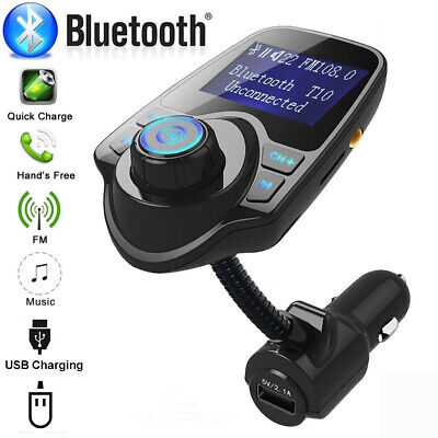 Wireless In-Car Bluetooth FM Transmitter MP3 Radio Adapter Car Kit USB Charger T