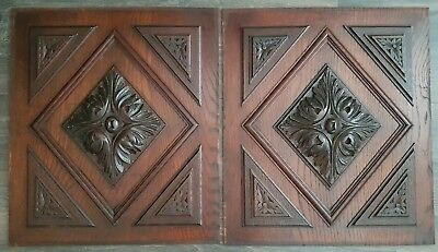 antique pair wooden oak panel carved  from France 19th century