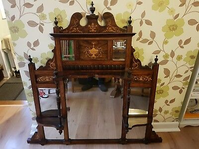 Edwardian inlaid Overmantle/Hall Mirror