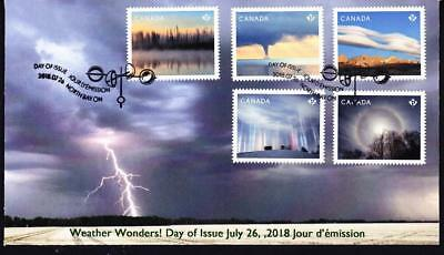 Canada 2018 limited edition FDC Weather Wonders, booklet combo of 5
