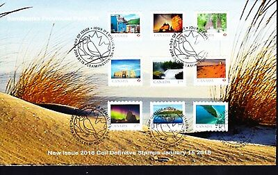 Canada 2018 limited edition FDC From Far and Wide, coil combo of 9 stamps
