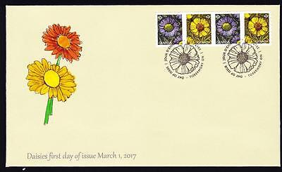 Canada limited edition FDC 2017 sc#2977-2978 Daisies, coil strip of 4 P stamps