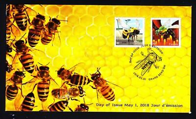 Canada 2018 limited edition FDC Native Bees, booklet se-tenant pair