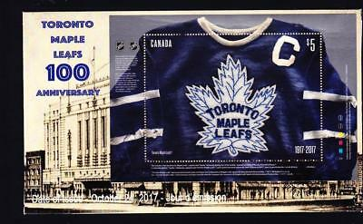Canada limited edition FDC 2017 sc#3042 Toronto Maple Leafs 100, fabric S/S
