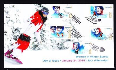 Canada 2018 limited edition FDC sc#3080-84 Women in Winter Sports, booklet combo