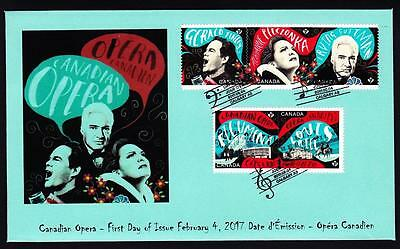 Canada limited edition FDC 2017 sc#2971-2975 Opera, combo of 5 booklet P stamps