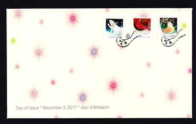 Canada limited edition FDC 2017 sc#3047-3049 Christmas Animals, 3 booklet stamps