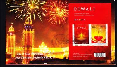 Canada limited edition FDC 2017 sc#3023 Diwali joint India se-tenant pair S/S
