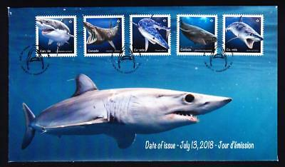 Canada 2018 limited edition FDC Sharks in Canadian Waters, booklet combo of 5