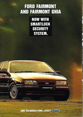 Ford Fairmont & Ghia Eb Booklet 10 1992 Brochure With Smartlock System Fair Cond