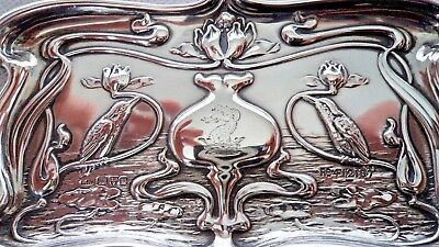 Art Nouveau Chester 1903 Kingfisher Sterling / Solid Silver Dressing Table Tray