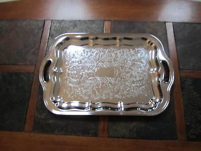 Vintage Silver TONE Rectangular Serving Dish or Tray with Handles