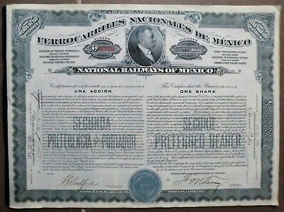 Ferrocarriles Nacionales (National Railways) of Mexico 1910, alle Coupons, unc.