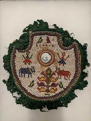 Antique Indian God Krishna Heavy Bead Work Tribal Decor Wall Hanging..