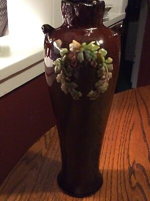 """NEAT Owens pottery 10.5""""vase With green raised wreath"""